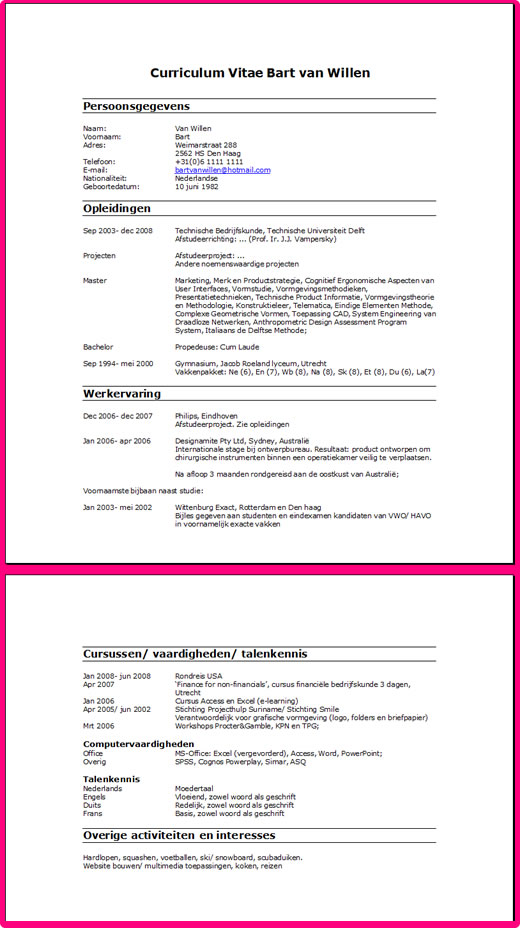 Curriculum Vitae De Inhoud Van Je Cv