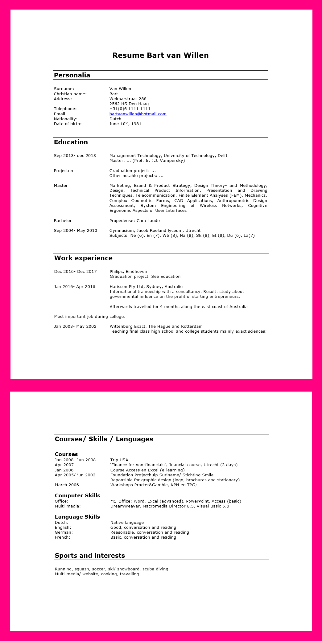 engels cv template   Incep.imagine ex.co